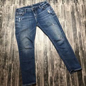 Silver distressed skinny jeans girlfriend jean